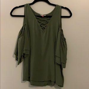 green criss cross shirt